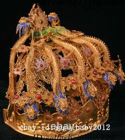 10 Chine Silver Gold Wire Pearl Neuf Dragon Crown Emperor Dragon Coronet Hat