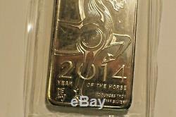 10 Oz. Bar D'argent. 999 Fin. Barres Silver Bullion 2014 Année Chinoise Du Cheval