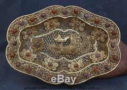 10 Palais Chinois Argent Pur 24k Or Gilt Gem Phoenix Flower Plate Plateau Plat