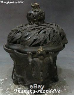 11 Argent Chinois Gilt Dragon Beast Bambou Brûleur D'encens Encensoir Encensoir Pot