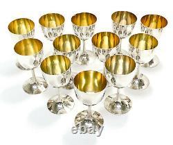 12 Gobelets De Vin Cordial D'argent Chinois, Intérieur De Gilt