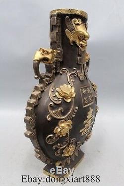 15 Vases En Laiton Bronze Chinois Cuivre Cuivre Or 24k Or Vermeil Foo Chien Lion Visage Bête