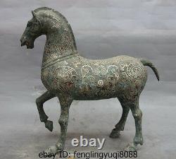 16 Dynastie Chinoise Palais Bronze Motif Vermeils Pur Sculpture Statue Cheval