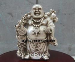 17 CM Bronze Chinois Chanceux D'argent Doré Pur Richesse Bouddha Maitreya Statue Amulette