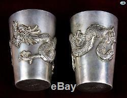 1800 Wai Kee Assortiment De 6 Soucoupes À Liqueur Dragon En Argent Doré