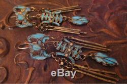 18 C Argent Antique Chinois Doré Boucles D'oreilles De Chauve-souris De Plumes De Martin-pêcheur