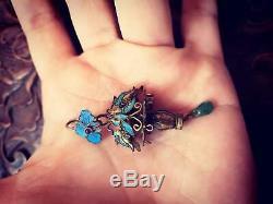 18 C Argent Antique Chinois Doré Pendentif Panier Kingfisher Papillon Plume
