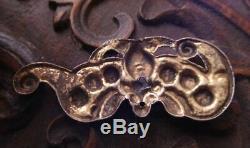 18 C Argent Antique Chinois Pendentif Chauve-souris Doré