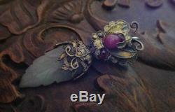 18 C Bijou Papillon Argent Doré Antique Chinois Pendentif Feuille De Jade