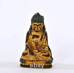 18c Chinese Gilt Lacquer Bronze Miniature Bouddha Figurine Statut Silver Clip Pin