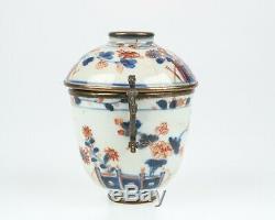 18thc Antique. Bol De Thé En Porcelaine Japonaise Ou Imari Chinois. Montures En Argent Doré
