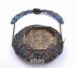 1900's Chinese Gilt Silver Enamel Filigree Panier En Miniature Avec Fleurs