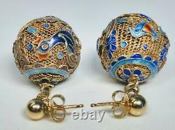 1920's Chinese Enamel Sur Argent Filipree Ball Dangle Boucles D'oreilles Drop 14k Or Retour