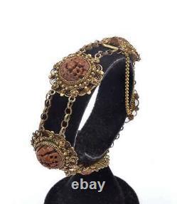 1930 Chinois Gilt Silver Hediao Nut Pit Sculpté Perles De Sculpture Bracelet As Is