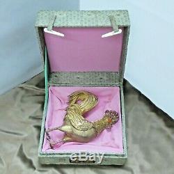 1940 Silver Gilt Filigrane Émail Coq Coq Chinois Box 5.5