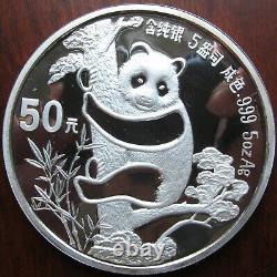 1987 Deux Pièces De 5 Oz + 1 Oz. 999 Argent Chinese Panda Box Set Coa Tonifiant 50+10 Yuan