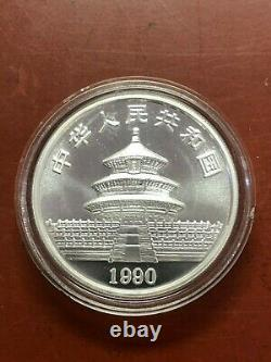 1990 1oz Chine Unc. Panda Argenté 10 Yuan Chinese Coin (grande Date) Nice Coin