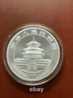 1998 1oz Chine Unc. Argent Panda 10 Yuan Chinese Coin (petite Date) Nice Coin