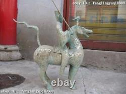 19chinese Old Bronze Copper Silver-gilt Guerrier Agressif Ride On Horse Statue