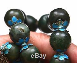 19e Épinards Chinois Jade Sculpté Sculpture Collier De Perles En Émail Clip D'argent Doré Mk