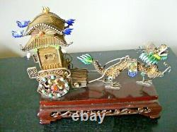 19ème Siècle Chine Enamel Chinois Gilt Silver Filigree Dragon Chariot Amovible