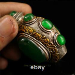 1.97 Collection Argent Chinois Gemme D'incrustation D'argent Bouteille De Snuff Faite Main