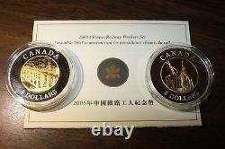 2005 Canada $8 Chinese Railway Workers Fine Silver 2-coin Set Plaque D'or Coa