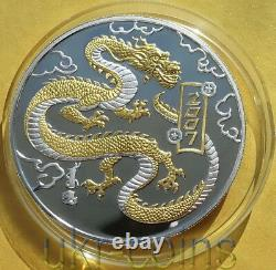2007 Mongolie Chinese Lunar Année Du Dragon 1 Oz Silver Proof Gilded Coin