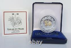 2008 Mongolie Année Lunaire Du Rat De Souris 1oz Argent Or Doré Pièce Chinoise