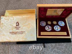 2008 Pékin Jeux Olympiques D'or Chinois Et Argent Avec Ensemble Épreuve Numismatique Box & Coa