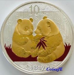 2009 1 Oz 999 Argent Chinois Panda Colorised & Or Argent Doré Pièce