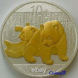 2010 1oz. 999 Pièces D'argent Dorées En Argent Chinois De Panda Chinois (très Rare)