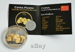 2013 1 Oz 999 Argent Chinois Panda Rhodium Noir Et Or 24 Carats (très Rare)