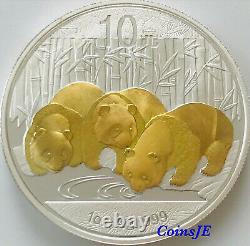 2013 1oz. 999 Silver Chinese Panda Gold Gilded Silver Coin (very Rare)
