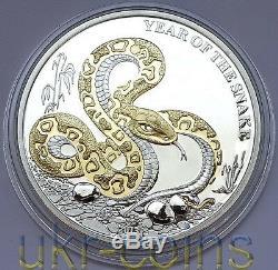 2013 Lunaire Togo Année Du Serpent 1 Oz Argent Proof Gilded Coin Du Zodiaque Chinois