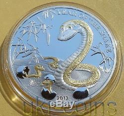 2013 Togo Année Lunaire Du Serpent 1 Oz Argent Proof Zodiaque Chinois Gilded