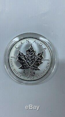 2014 Canada Maple Leaf 1 Oz Chinois Cheval Double Argent Privé Mintage500 Cull 3