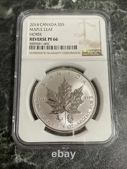 2014 Canada Maple Leaf 1 Oz Chinois Cheval Double Privé Argent Mintage500 Ngc Pf66