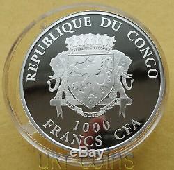 2019 Congo Année Lunaire Chinoise De La Couleur Argent Pig 3d Gilded Coin Pierres Précieuses