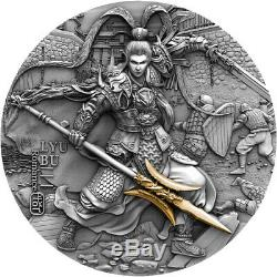 2020 $ 5 Lyu Bu Ancient Chinese Guerrier Argent Plaqué Or 2 Oz Coin