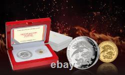 2020 Fiji Chinese Dragon & Phoenix 1 Gramme D'or & 1 Oz Silver Coin Set 888 Fabriqué