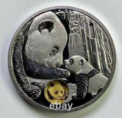 2021 Chine 40e Anniv. De Chinen Panda Gold Coin 20g Argent+1g Gold Coin Médaille