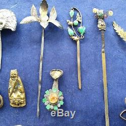 21 Antique Chinois Qing Gilt Silver Lady Pin Épingle Cheveux Ornement Chine 19 C