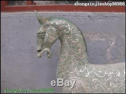 21chinese Folk Classique Bronze Motifs De Fleurs En Vermeil Statue De Cheval