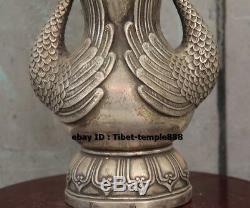 23 CM Chinois Pur Bronze Doré Paon Doré Phénix Fleur Pot Vase Pot