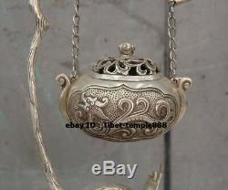 25 CM Chinois Pur Bronze Brindille De Branche En Vermeil Dragon Encens Brûleurs Encensoir