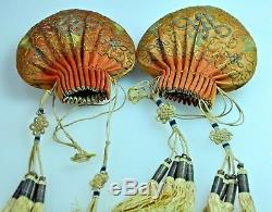 2 Antique Chinois Chine Qing Broderie De Soie D'or Grade Argent Bourse 1900