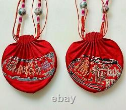 2 Antique Chinois Chine Qing Silk Embroidery Rank Gold Silver Purse Hommes 1900