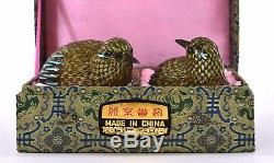 2 Boite À Oiseaux Vintage Mk En Argent Massif Avec Emaillé, Chine Beijing