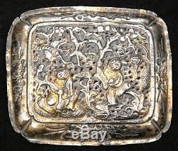2 Chinois Antique Or Argent Doré Qing Ruyi Sceptre Ornements Scholar Plaques